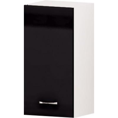 Горен кухненски шкаф с 1 врата и рафт Алис G60 35 см - черно гланц