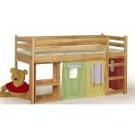 Високо детско легло с място за игра и бюро EMI