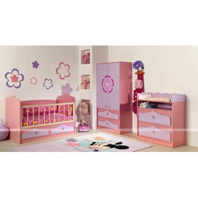 Бебешко обзавеждане ПИНКИ 2 с легло за матрак 70/140 см