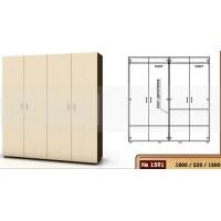 Четирикрилен гардероб 180 см - 2 лоста и 3 рафта 1591