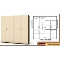 Четирикрилен гардероб 200 см - 2 лостa и 5 рафта 1593