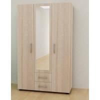 Трикрилен гардероб с огледало и 2 чекмеджета Глазгоу