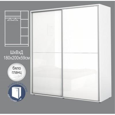 Гардероб АПОЛО 5 с плъзгащи врати бяло гланц