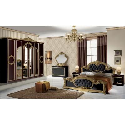 Спален комплект Barocco бял/черен със златно