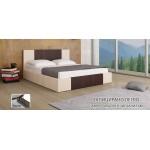 Тапицирано легло Казабланка кожа крем мат/ кожа кафяво мат