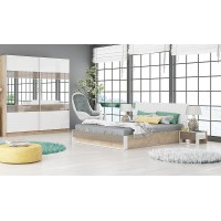 Спален комплект Монца дъб елеганс/ бяло гланц