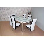 Комплект разтегателна маса и 6 стола 1507 1 - бяло