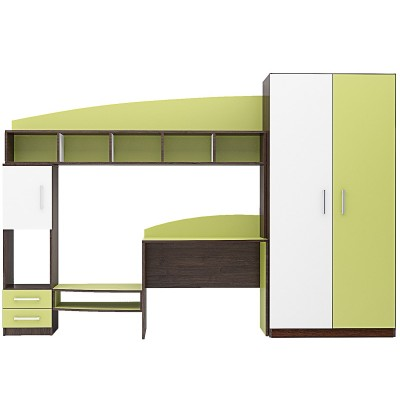 Обзавеждане за детска стая Томас венге амбър/ бяло/ зелено океан