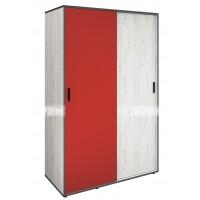 Мики модул 15 двукрилен гардероб с плъзгащи врати - дъб крафт бял/червено