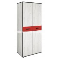 Мики модул 14 двукрилен гардероб - дъб крафт бял/червено