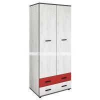 Мики модул 13 двукрилен гардероб с две чекмеджета - дъб крафт бял/червено