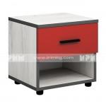 Мики модул 4 нощно шкафче - дъб крафт бял/червено