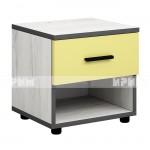 Мики модул 4 нощно шкафче - дъб крафт бял/жълто