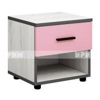 Мики модул 4 нощно шкафче - дъб крафт бял/розово
