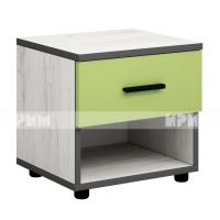 Мики модул 4 нощно шкафче - дъб крафт бял/зелено