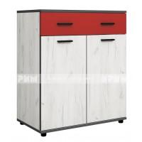 Мики модул 7 шкаф - дъб крафт бял/червено