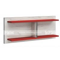 Мики модул 5 стенна етажерка - дъб крафт бял/червено