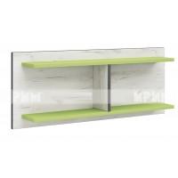 Мики модул 5 стенна етажерка - дъб крафт бял/зелено