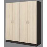 Четирикрилен гардероб Аполо 6 тъмен дъб/ пясъчен дъб