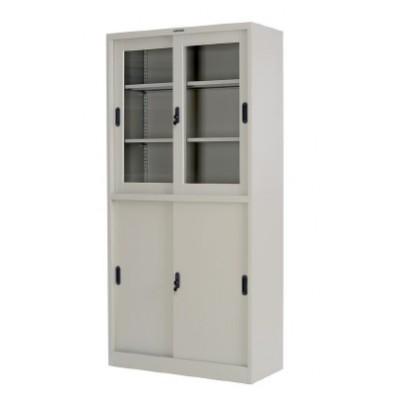 Метален шкаф за документи с плъзгащи врати с 1/2 стъклени витрини 90/40/185см