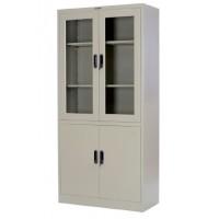 Метален шкаф за документи с 1/2 стъклени витрини 90/40/185 см
