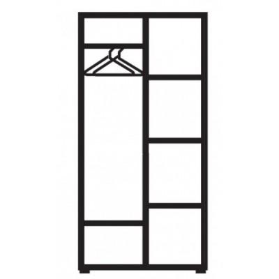 Бял двукрилен гардероб с огледало Ава 21