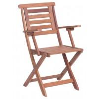 Сгъваем дървен градински стол с подлакътници NILS