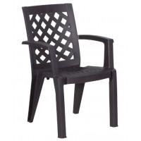 Пластмасов градински стол ERGUVAN тъмнокафяв