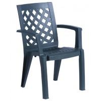 Пластмасов градински стол ERGUVAN тъмно зелен