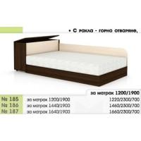 Легло 185 с повдигащи амортисьори, заоблени табли и ракла в 3 размера