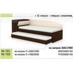 Легло тип Сандвич 721/722 с 2 бр. матраци - с ракла и скосена табла