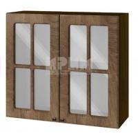 Горен кухненски шкаф 80 см Сити с две витрини ВФ-дъб натурал-06-104