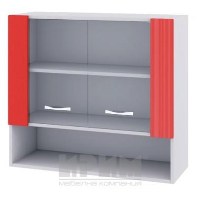 CITY БЧ - 410 кухненски горен шкаф 80см с ниша и две витринни врати с рафт