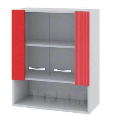 CITY БЧ - 409 кухненски горен шкаф 60см с ниша и две витринни врати с рафт