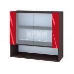 Горен кухненски шкаф 80 см с 2 витрини и ниша Сити ВЧ - 10