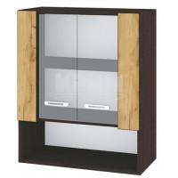 CITY ВД - 109 кухненски горен шкаф 60 см шкаф с ниша и две витринни врати с рафт