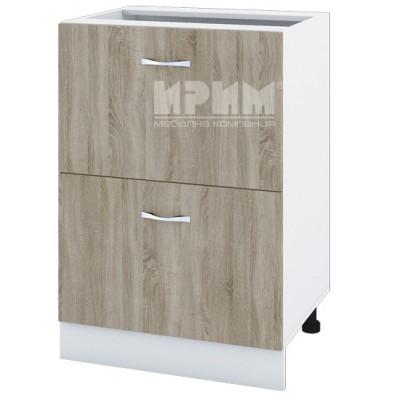CITY БС - 144 кухненски долен шкаф 60 см с две чекмеджета без горен плот