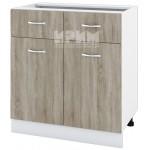 CITY БС - 126 кухненски долен шкаф 80 см с две чекмеджета и две врати без горен плот