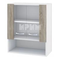 CITY БС - 109 кухненски горен шкаф 60 см с ниша и две витринни врати с рафт