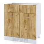CITY БДД 26 кухненски долен шкаф 80 см с две чекмеджета, две врати и рафт. Без термо-плот