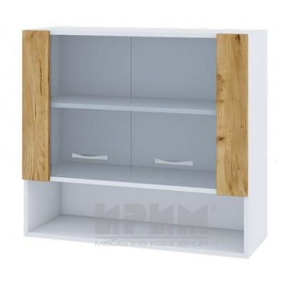 CITY БДД 10 кухненски горен шкаф 80 см с ниша и две витринни врати и рафт