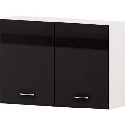 Горен кухненски шкаф с две врати и рафт Алис G28 100 см - черно гланц