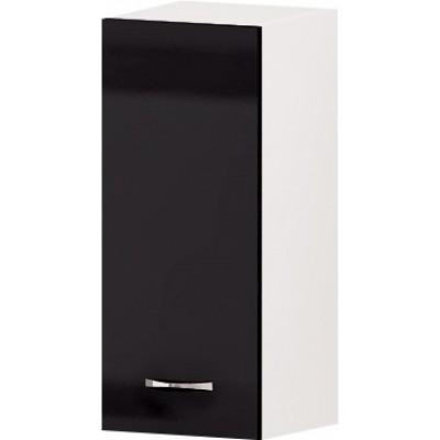 Горен кухненски шкаф с 1 врата и рафт Алис G23 30 см - черно гланц