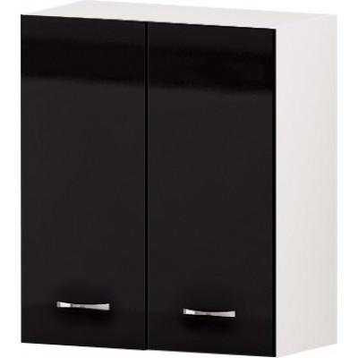 Горен кухненски шкаф с две врати и рафт Алис G49 60 см - черно гланц