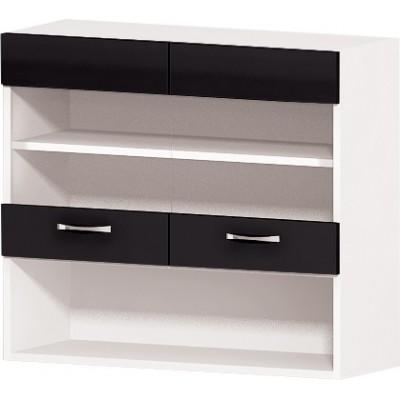 Горен кухненски шкаф с две витрини и ниша Алис G58 80 см - черно гланц