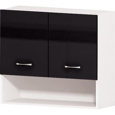 Горен кухненски шкаф с две врати и ниша Алис G15 80 см - черно гланц