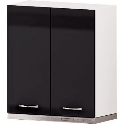 Горен кухненски шкаф с две врати за телескопичен аспиратор Алис G17 60 см - черно гланц