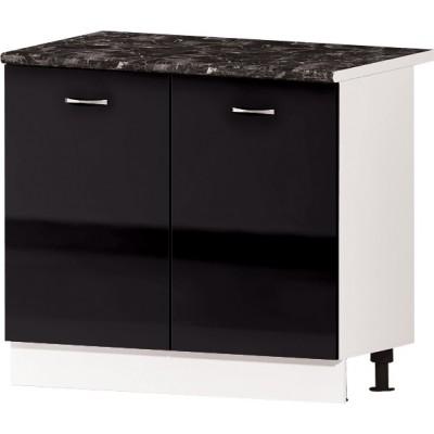 Долен кухненски шкаф с две врати и рафт Алис B24 100 см - черно гланц