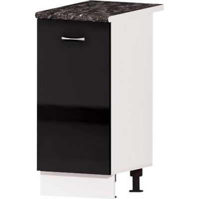 Долен кухненски шкаф с една врата и рафт Алис B5 40 см - черно гланц