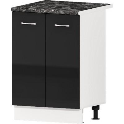 Долен кухненски шкаф с две врати и рафт Алис B51 60 см - черно гланц
